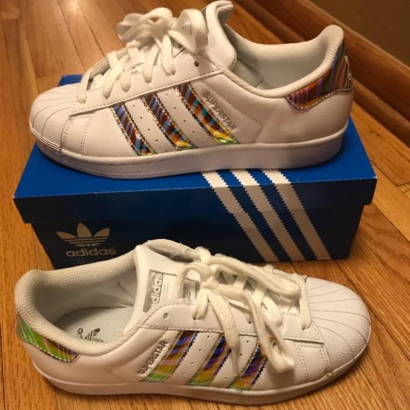 Nwot Adidas superstar green stripe sneakers 8.5